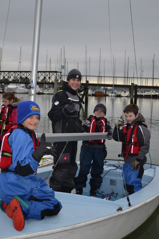 Primary pupils with Dinghy Instructors course
